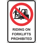 Riding On Forklifts Prohibited Sign