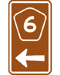 Tourist Drive Markers Shield - Numeral and Arrow Sign
