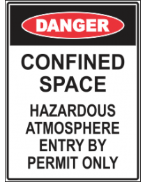 Confined Space ..Hazardous Atmosphere Enter By Permit Only Sign