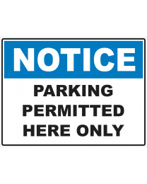 Parking Permitted Here Only Sign
