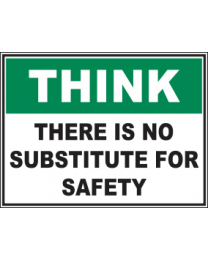 There Is No Substitute For Safety Sign