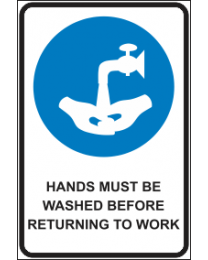 Hands Must Be Washed Before Returning To Work Sign