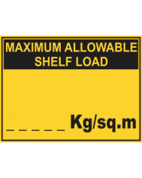 Maximum Allowable Shelf Load....Kg/sq.m