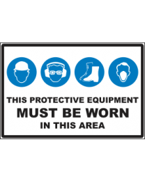 These Protective Equipments Must Be Worn In This Area Sign