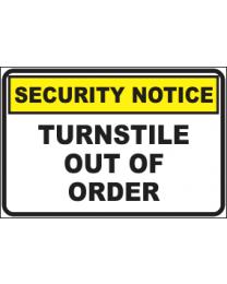 Turnstile Out Of Order Sign