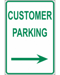 Customer Parking Arrow (R) Sign