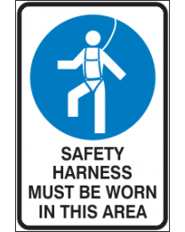 Safety Harness Must be Worn in This Area Sign