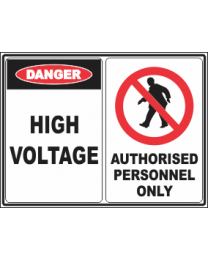 High Voltage-Authorised Personnel only Sign