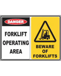 Forklift Operating Area-Beware Of Forklifts Sign