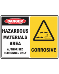 Hazardous Materials Area-Corrosive Sign