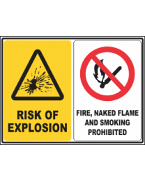 RiskOf Explosion-Fire, Smoking & Naked Flames Prohibited Sign