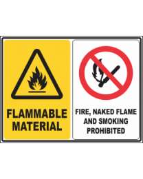 Flammable Material -Fire, Smoking & Naked Flames Prohibited Sign