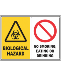 Biological Hazard-No Smoking ,Eating Or Drinking Sign