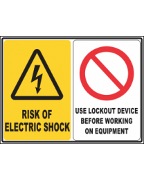 Risk of Electric Shock-Use Lockout Device Before Working on Equipment Sign
