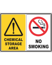 Chemical storage Area-No Smoking Sign