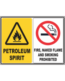 Petroleum Spirit-Fire ,Naked flames & Smoking Prohibited Sign