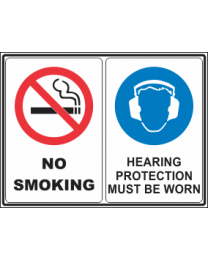 No Smoking -Hearing Protection Must be Worn Sign