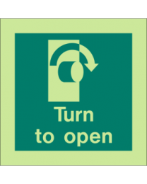Turn To Open (Right Side) Sign