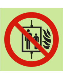 Do not use lift in the event of fire Sign