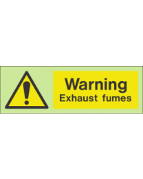 Warning exhaust fumes sign