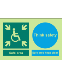 safe area, keep clear, think safety sign