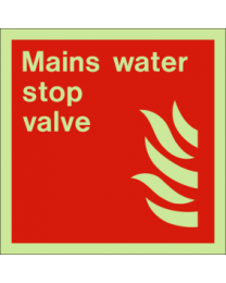 Mains water stop valve sign