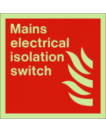 Mains electrical isolation switch sign