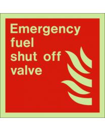 Emergency fuel shut off valve sign