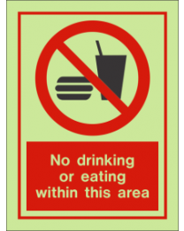 No Drinking Or Eating Within This Area IMO Sign