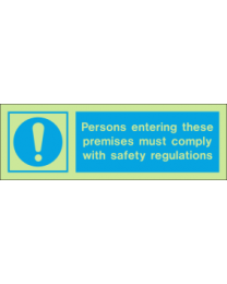 Persons Entering These Premises Must Comply With Safety Regulations IMO Sign