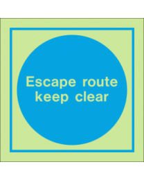 Escape Route Keep Clear IMO Sign
