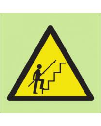 Warning steep steps sign