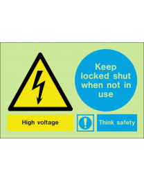 High voltage keep locked shut when not in use sign