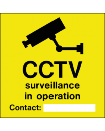 CCTV surveillance in operation ..contact... sign