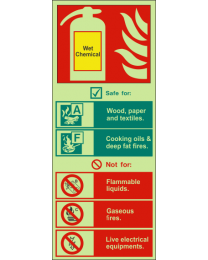 Fire extinguisher identification-wet chemical sign