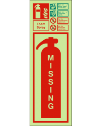 Missing fire extinguisher-Foam spray sign