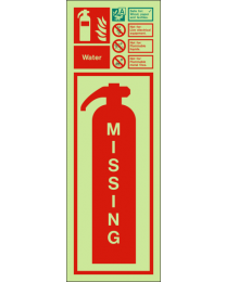 Missing fire extinguisher-Water sign