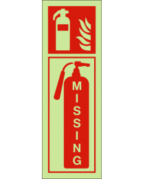 Missing fire extinguisher sign