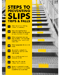 Steps To preventing Slips, Trips & Falls Poster